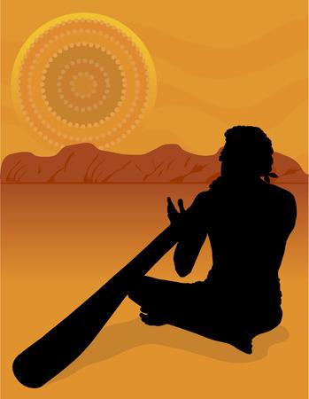 tribu: Negro silueta de un aborigen australiano en la