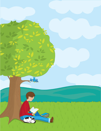 A young boy is reading a book under a tree. His dog is sleeping beside him. Illustration