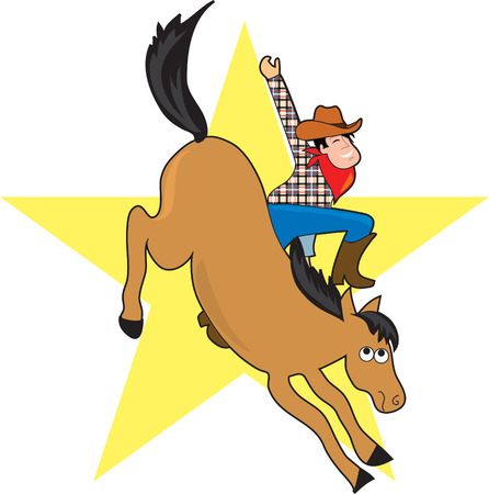 A cowboy rides a bucking bronco.  He looks happy that hes still on board.