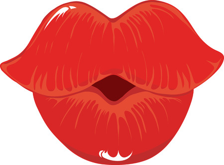 A pair of bright red lips puckered up and ready for kissing Ilustração