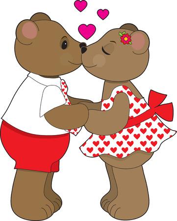 A couple of teddy bears sharing a kiss. Stock Vector - 4156070