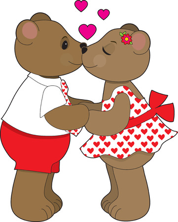 A couple of teddy bears sharing a kiss. Stock Vector - 4156070