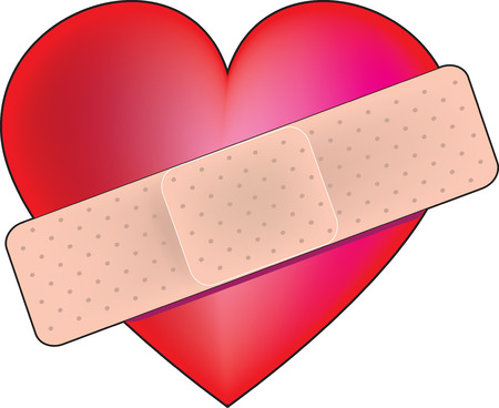 bandage: A big red heart with a bandage across it Illustration