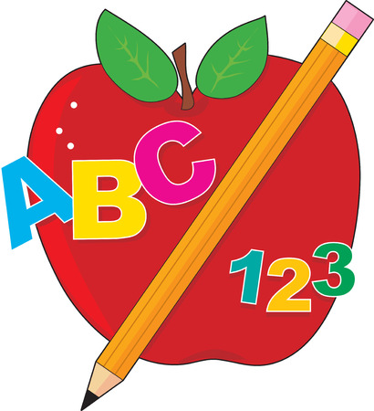 numbers: A red apple with a pencil ,the alphabet  and numbers