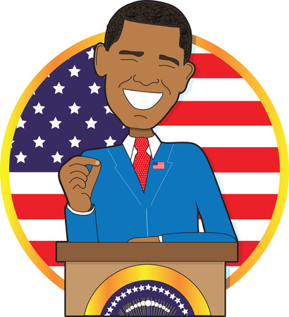 A portrait of President Barack Obama standing at a podium with the American Flag behind him