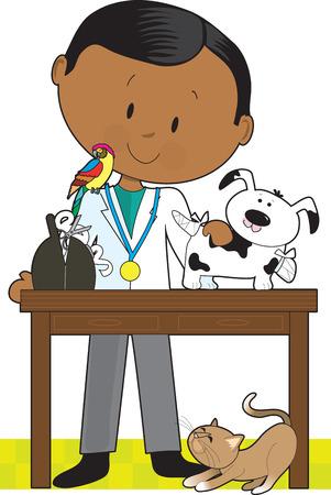 Zwarte dierenarts neigt naar een hond. Een papegaai zit op zijn schouder en een kat onder de tafel.