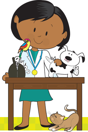 tending: Black woman veterinarian tending to a dog. A parrot sits on her shoulder and a cat is under the table. Illustration