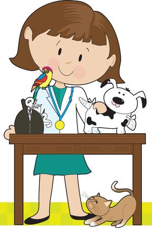 Veterinario mujer tiende a un perro. Un loro se sienta en su hombro y es un gato debajo de la mesa. Ilustración de vector