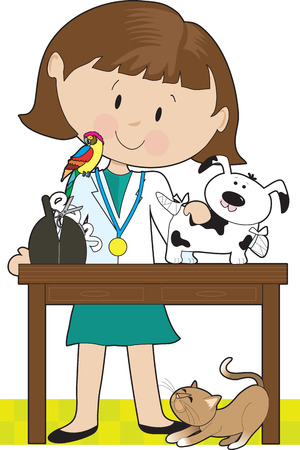 occupation: Woman veterinarian tending to a dog. A parrot sits on her shoulder and a cat is under the table.