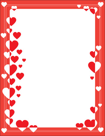 A red border featuring hearts in different sizes around the edge Illusztráció