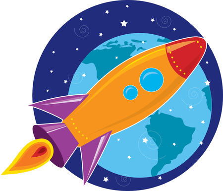 ロケットは、バック グラウンドで惑星地球と宇宙を飛ぶ