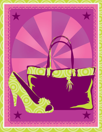 accessory: Stylized graphic of a handbag and a shoe