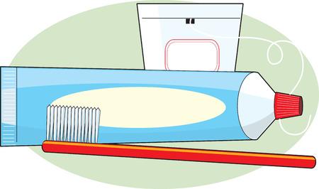 歯磨き粉、歯ブラシ、いくつかのフロスの管  イラスト・ベクター素材