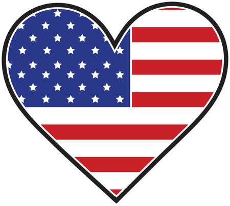 The American flag in the shape of a heart Vectores