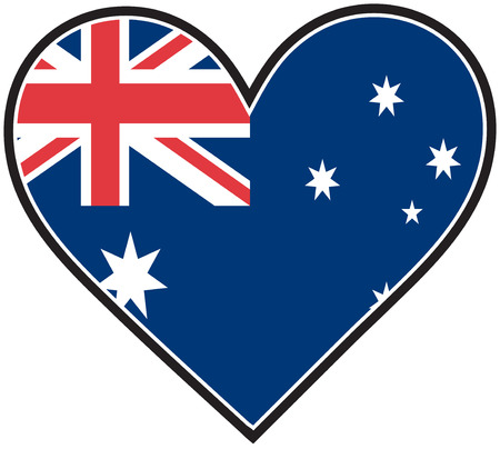 heart under: The Australian flag in the shape of a heart Illustration