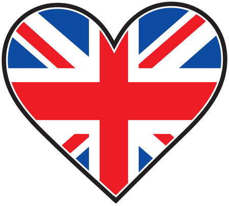 The British flag in the shape of a heart Çizim