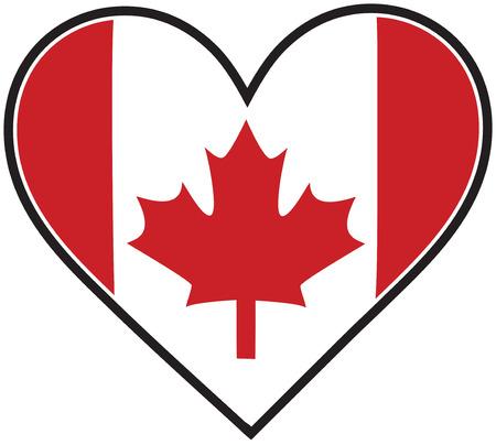 心のような形をしたカナダの旗  イラスト・ベクター素材