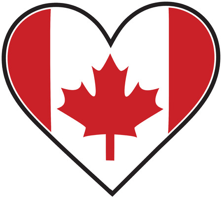canadian flag: A Canadian flag shaped like a heart Illustration