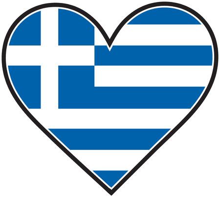 Ein griechischer Flagge geformt wie ein Herz Standard-Bild - 4379692