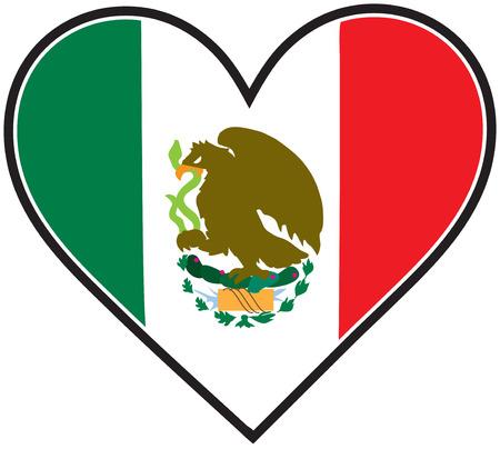 drapeau mexicain: Un drapeau mexicain en forme de coeur Illustration