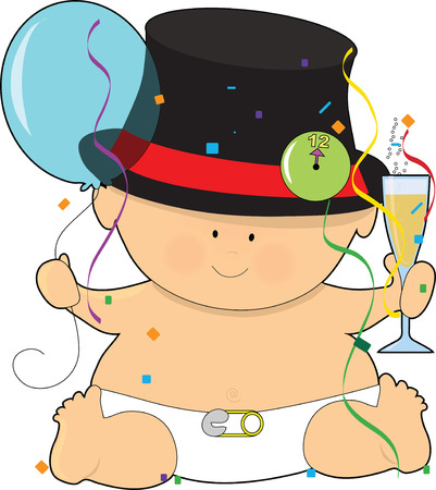 A baby dressed in a diaper and top hat Ilustrace