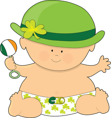 A baby dressed in a diaper and bowler hat with shamrocks