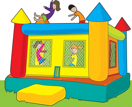 A colorful bounce castle set outdoors on white background with kids jumping