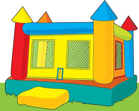 brincolin: Un colorido castillo rebote conjunto al aire libre en el fondo blanco Vectores