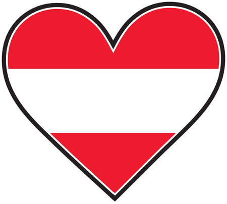 austrian: An Austrian flag shaped like a heart Illustration
