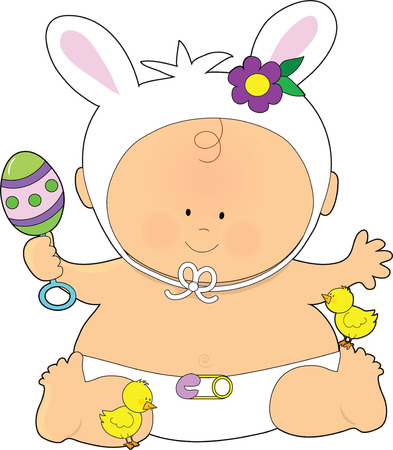 A cute little baby dressed as an Easter Bunny with a rattle and little chicks at his  feet
