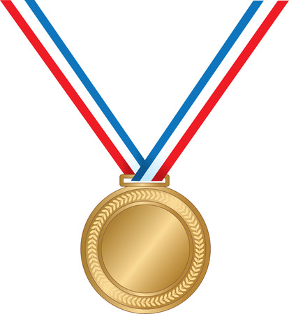 champ: A gold medal on a striped ribbon Illustration