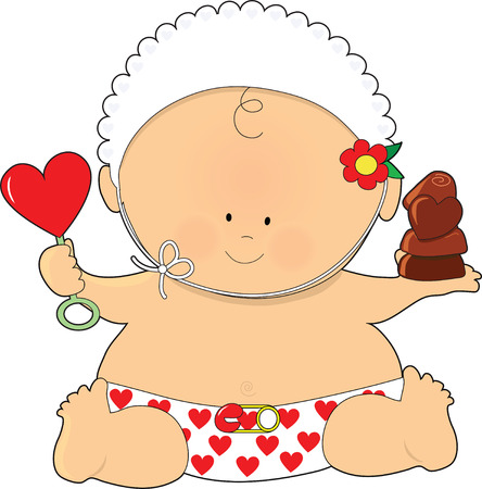 baby toy: A cute baby holding a heart shaped rattle and some chocolates