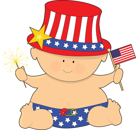 A cute baby holding the American Flag on the Fourth of JUly Stock Vector - 4466694