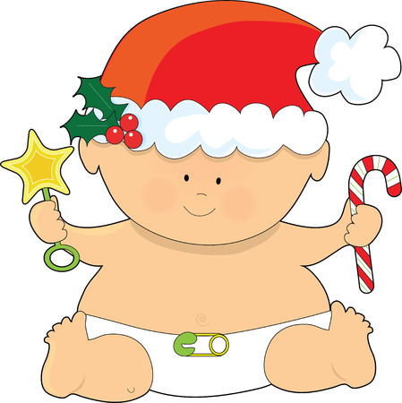 A baby dressed in a Santa hat and holding a candy cane Stock Vector - 4477037