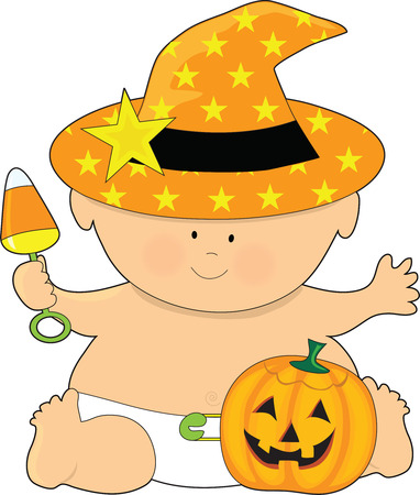 A baby dressed in a witchs hat with a pumpkin by its foot
