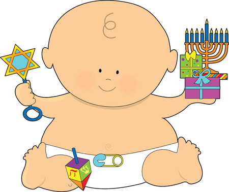 A baby dressed in a diaper and holding presents for Hanukkah