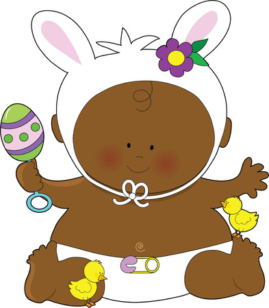 A cute little baby dressed as an Easter Bunny with a rattle and little chicks at his  feet Stock Vector - 4502457