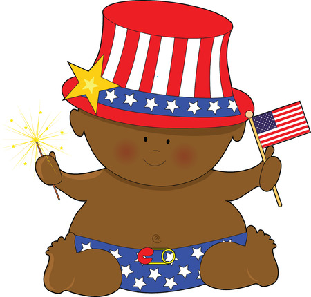 A cute baby holding the American Flag on the Fourth of JUly Stock Vector - 4502460