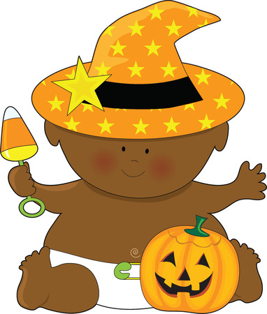 A baby dressed in a witch's hat with a pumpkin by it's foot Stock Vector - 4502454