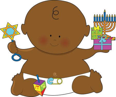 little girl feet: A baby dressed in a diaper and holding presents for Hanukkah