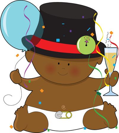 top hat: A baby dressed in a diaper and top hat Illustration