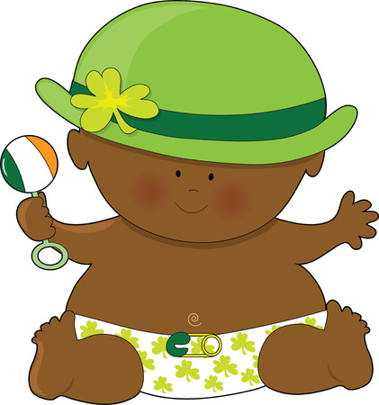 bowler hat: A baby dressed in a diaper and bowler hat with shamrocks