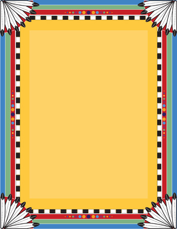 native indian: A border or frame with a Native American motif