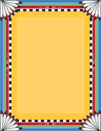 Een grens of frame met een Native American motief Stock Illustratie