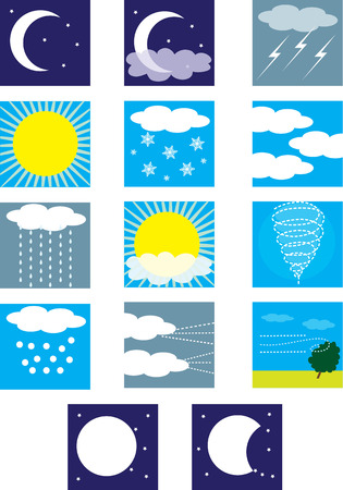 Weather symbols depicting the different types of conditions Vector
