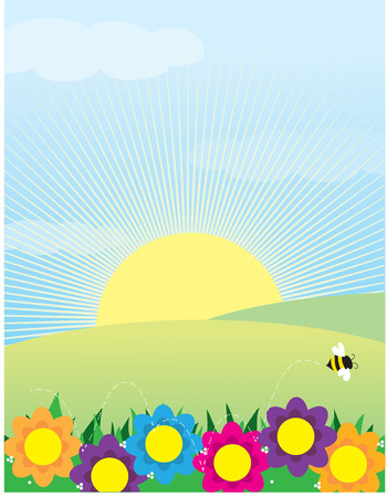 springtime: A view of a springtime meadow with flowers and a bee in the foreground and the sun rising over the hills