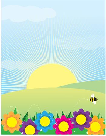 Une vue d'une prairie de fleurs de printemps et d'une abeille à l'avant-plan et le soleil se lève sur les collines Banque d'images - 4610338
