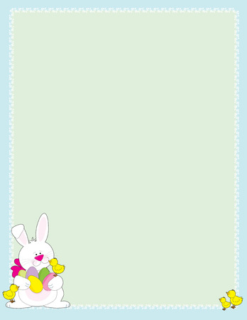 An Easter bunny holding colored eggs with little chick on his feet in the corner of an Easter frame Vector