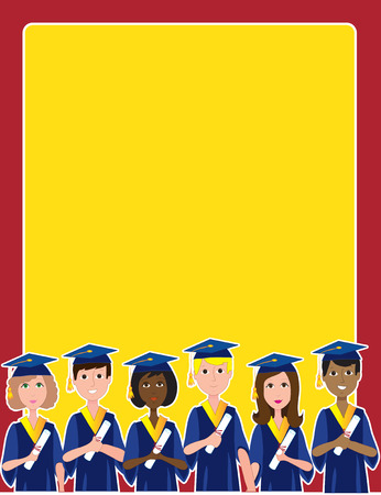 graduating: A group of graduates with diplomas at the bottom of a frame or border