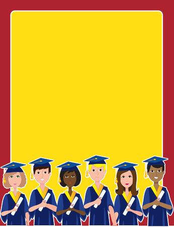fondo de graduacion: Un grupo de graduados con t�tulos en la parte inferior de un marco o borde Vectores